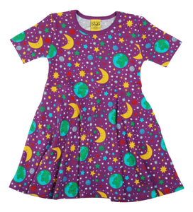 DUNS Sweden - Short Sleeve Organic Skater Dress - Mother Earth Violet