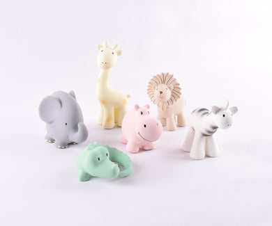 Tikiri My First African Zoo Animals | Natural Rubber Rattle & Teether Toys - 6 Assorted Designs
