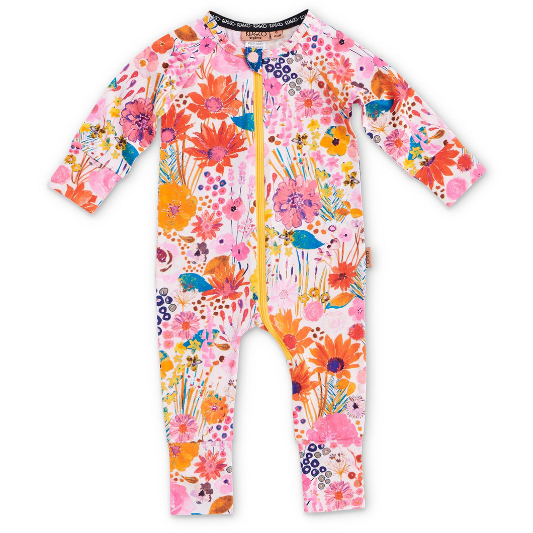 Pinky field of dreams organic zip romper