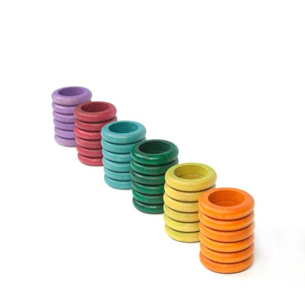 Grapat Set of 36 Rings Pastel Colours