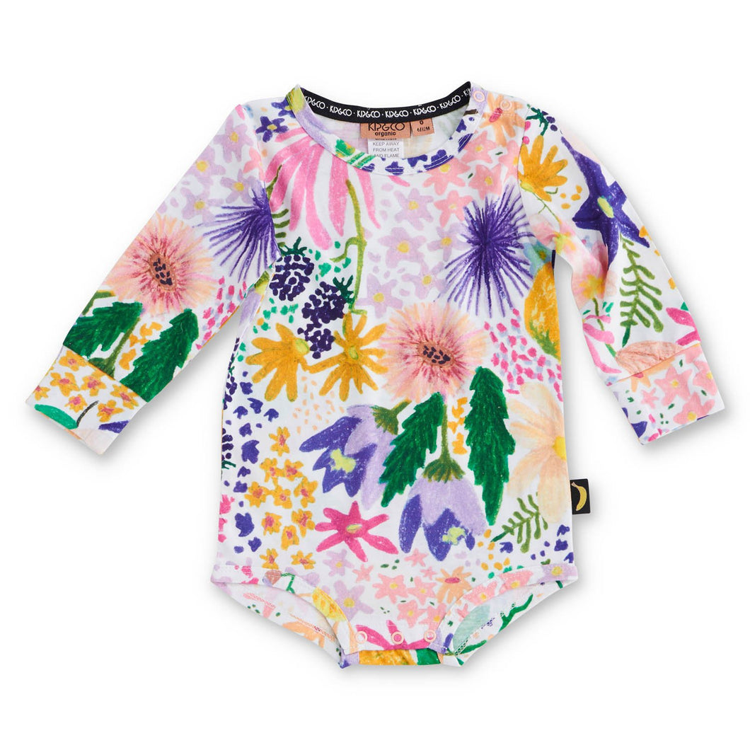 Meadow Colourful Organic Long Sleeve Romper