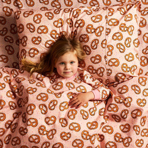 Pretzel Pink Cotton Cot Fitted Sheet