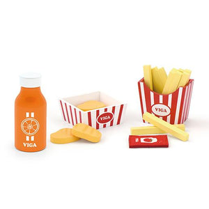 Wooden Toy Nuggets and Fries Set with Orange Juice