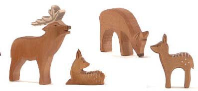 Ostheimer Wooden Deer Family of 4 Pieces