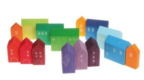 Set of 15 Small Wooden Houses