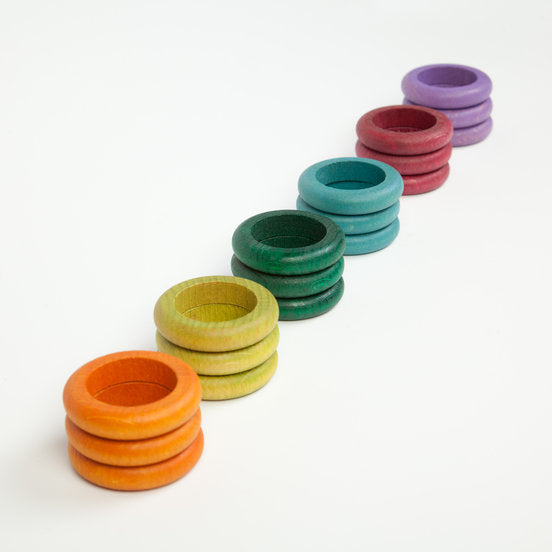 Grapat Set of 18 Coloured Rings in 6 pastel colours