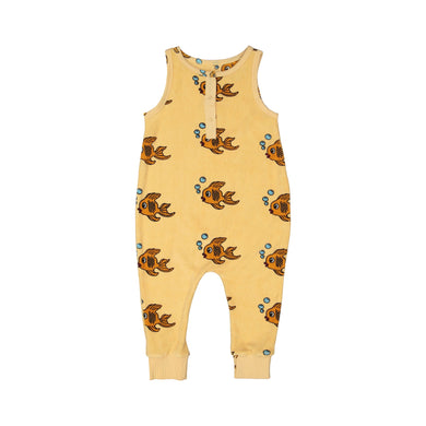 Yellow Fish Terry Long Leg Romper