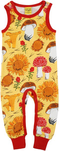 DUNS Sweden - Organic Dungarees - Sunflowers and Mushrooms Sunshine Yellow