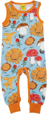 DUNS Sweden - Organic Dungarees - Sunflowers and Mushrooms Sky Blue