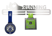 medal hanger with image of running shoe and heart motif, with medals