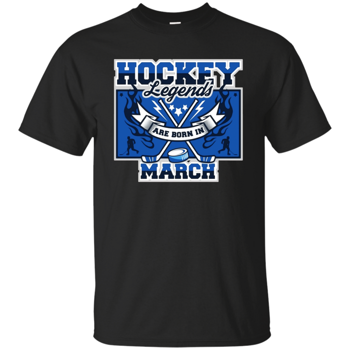 Hockey Shirt Birthday Legends are Born in March Tee