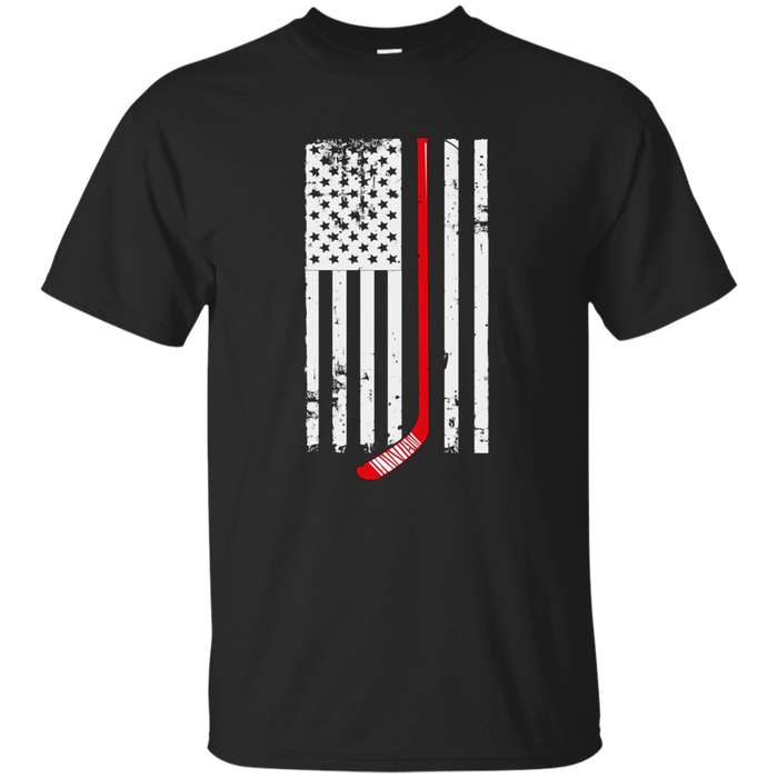 Red Hockey Stick American Flag T-Shirt Hockey Love Tee