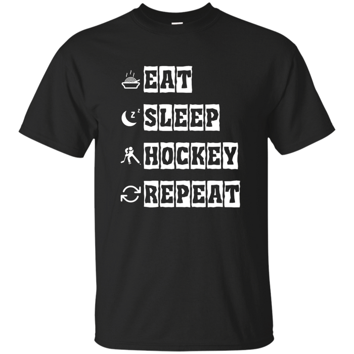 Funny Eat Sleep Hockey Repeat T Shirt Men and Kids Gift Idea
