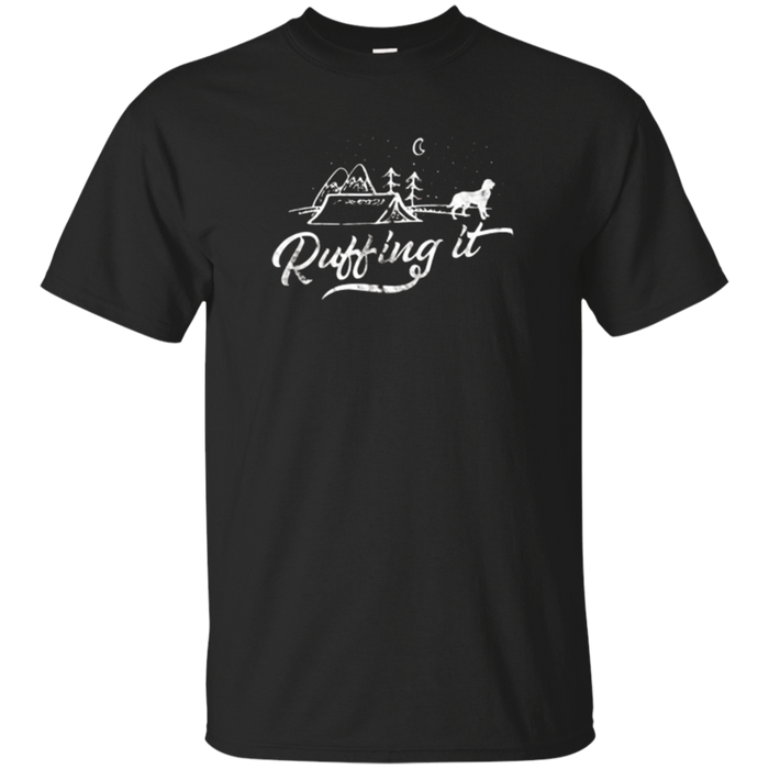 Ruffing It Funny Camping T Shirt Golden Retriever Dog Tee
