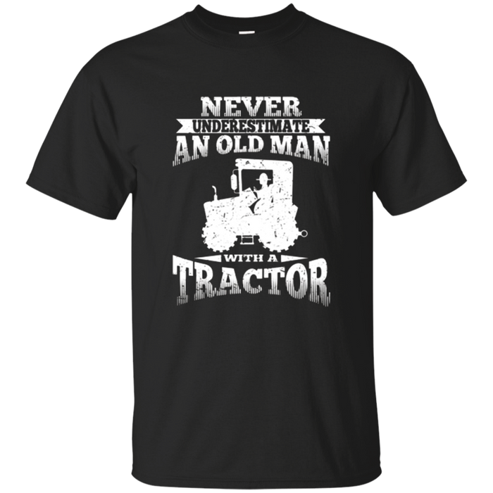 Never Underestimate An Old Man Tractor T-Shirt Grandpa Tee