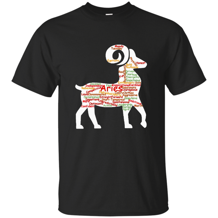 Aries Horoscope Word Cloud March April Birthday Gift T-Shirt