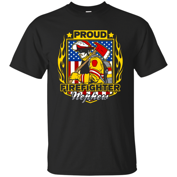 Proud Firefighter Nephew Patriotic Bunker Gear T-shirt