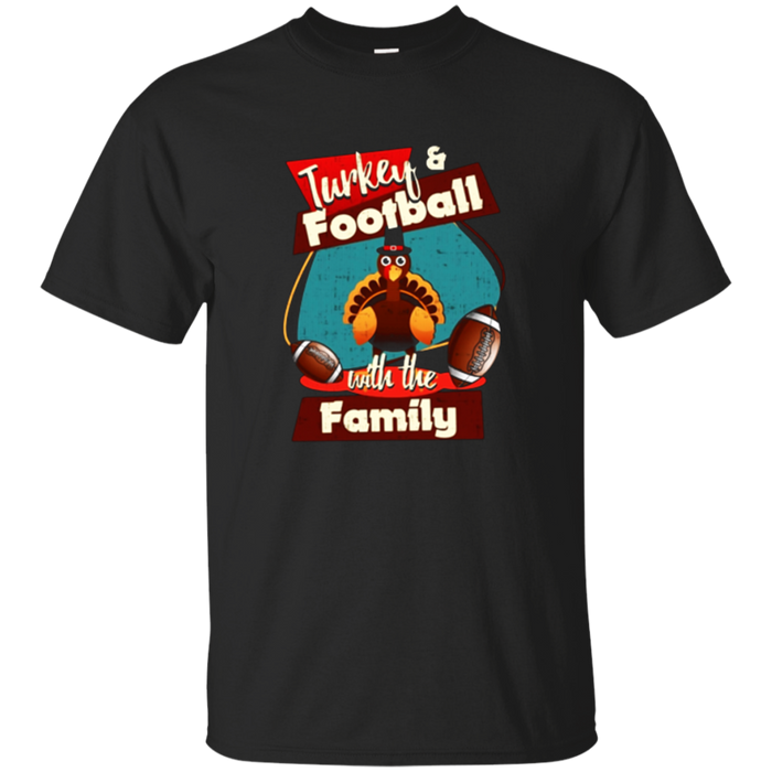 Turkey and football Thanksgiving T shirt with the family