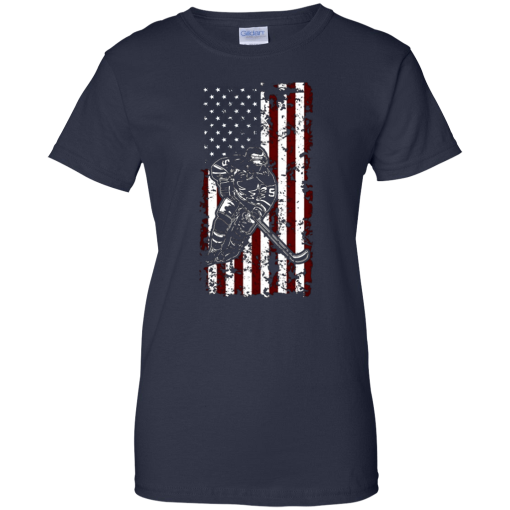 American Ice Hockey Player USA Patriot Flag T-Shirt