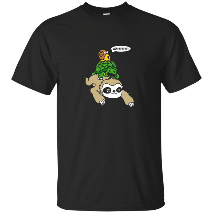 Cute Sloth, Turtle and Snail piggyback running Wild T-Shirt