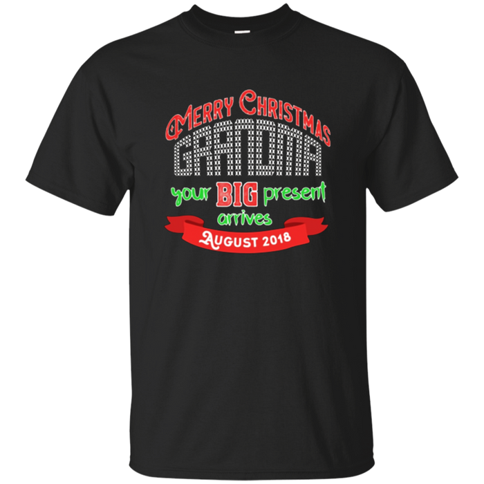 Merry Christmas Grandma August Baby Announcement T Shirt