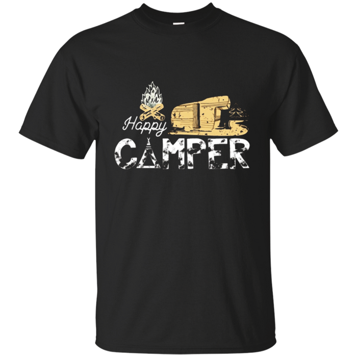 Happy Camper Camping T-shirt - Camper Trailer Fire Gift