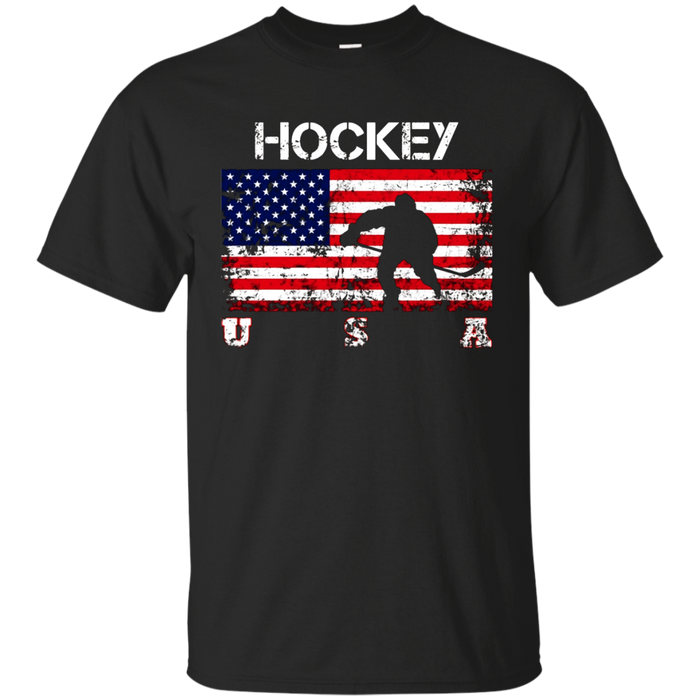 Hockey Team Gift - American Flag Hockey T-Shirt