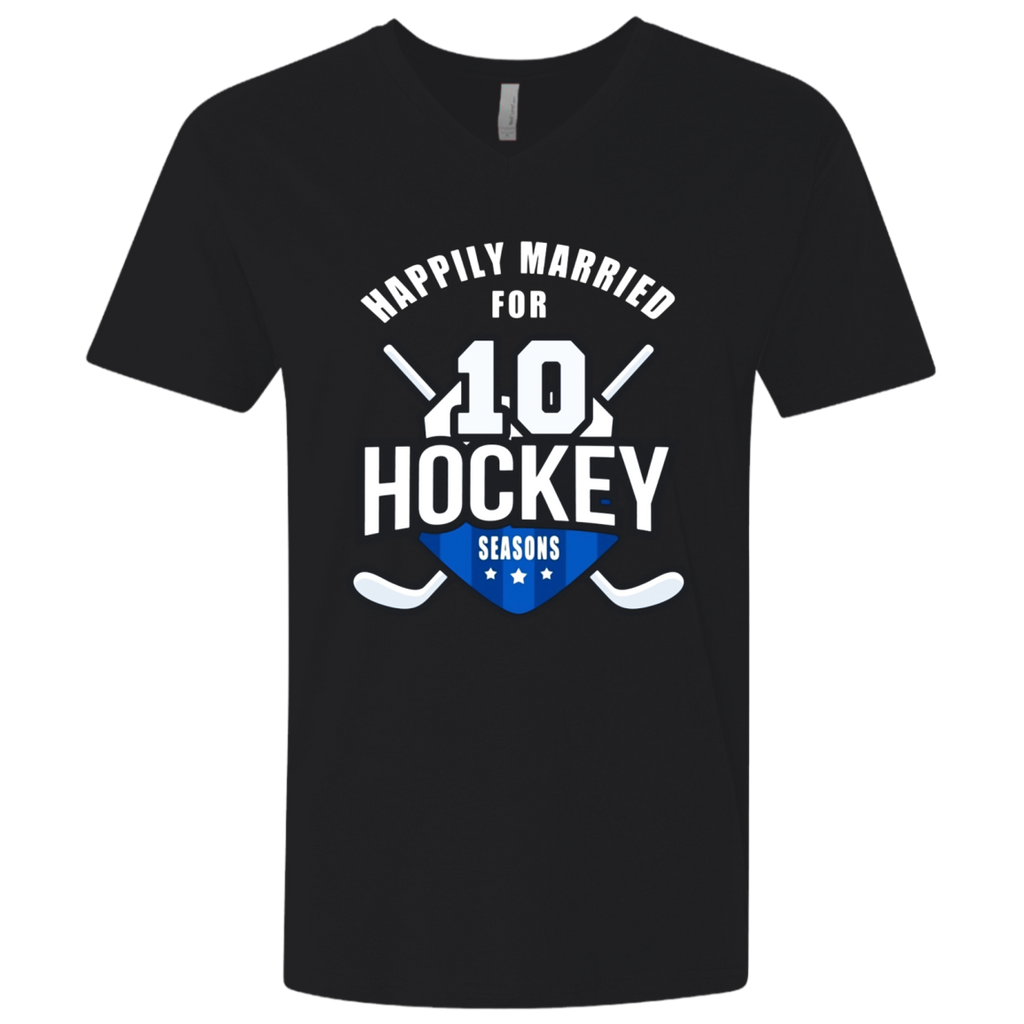 10th Wedding Anniversary T-Shirt Hockey Couple Gift Tee