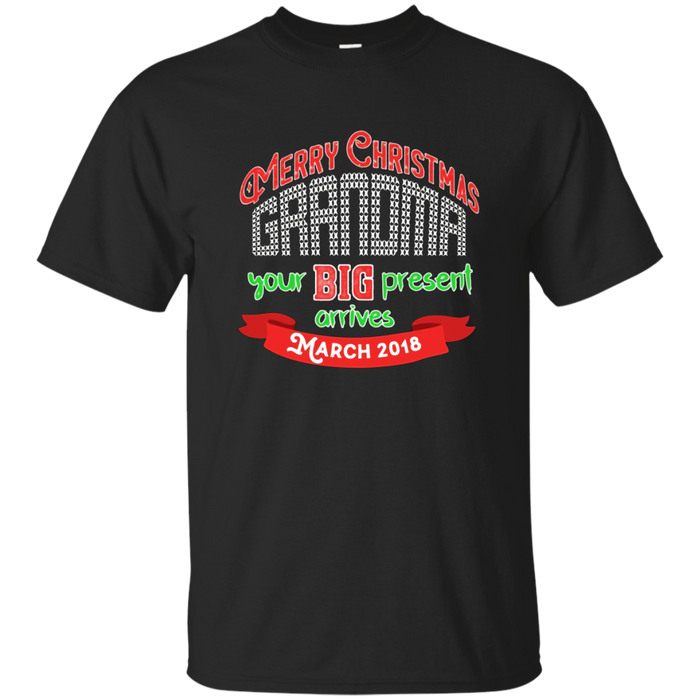 Merry Christmas Grandma March Baby Announcement T Shirt