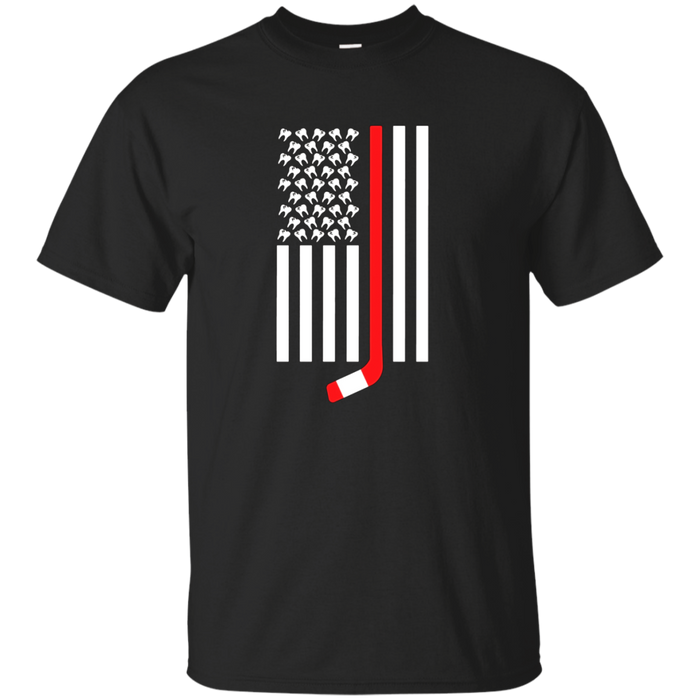 Hockey Stick and Teeth American Flag T Shirt Youth and Adult