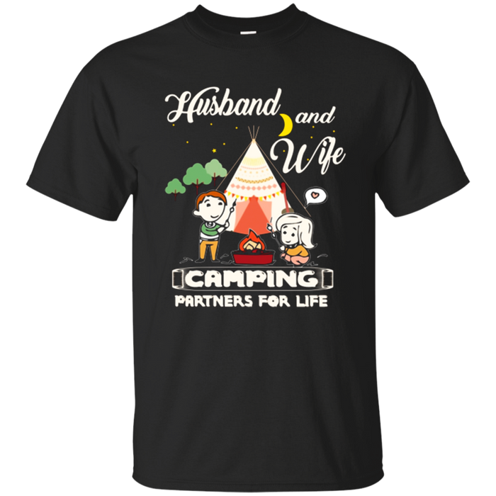 Camping T-Shirt Husband and Wife Camping Partners Gift Teee