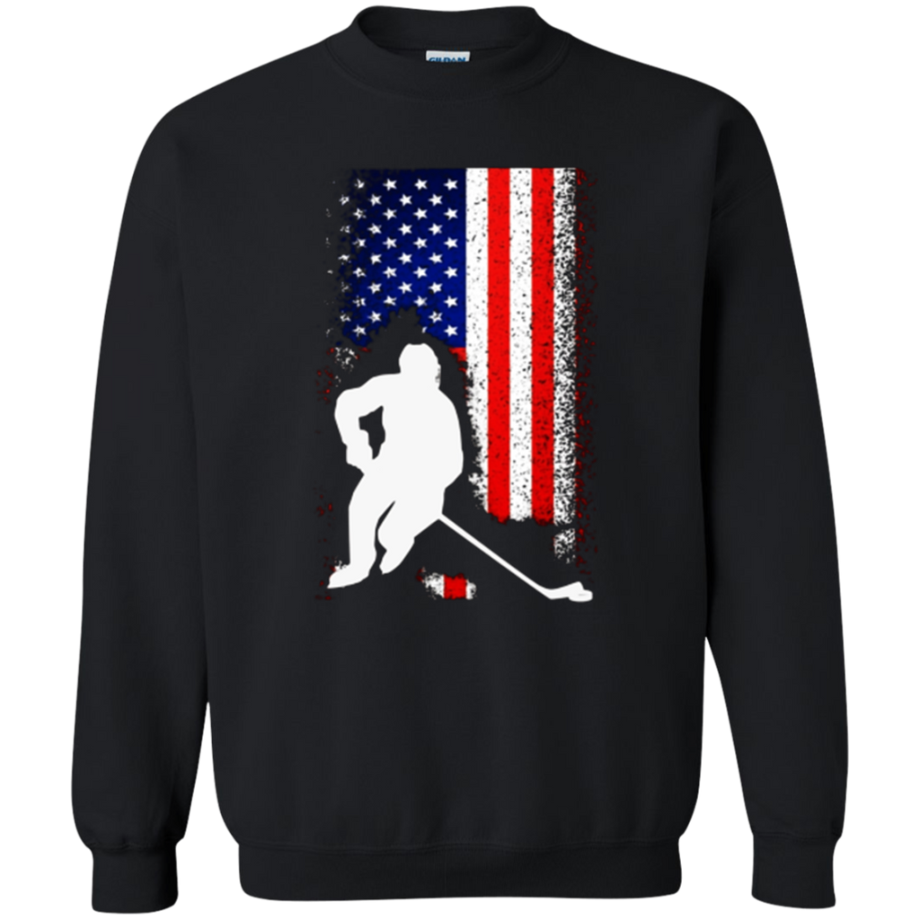 American Flag Hockey T-shirt Distressed Cool Unisex Top Tee