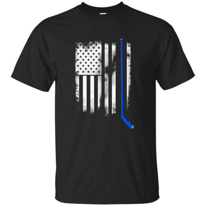 Hockey American Flag blue stick u.s. team T-shirt Hockey tee