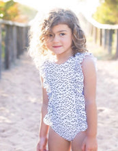 Madison - Ruffle Girls One Piece Swimsuit in black and white polka dots - Coco & Me - Children's swimwear - Australian swimwear - sun safe - UPF 50+ - Australian kids swimwear