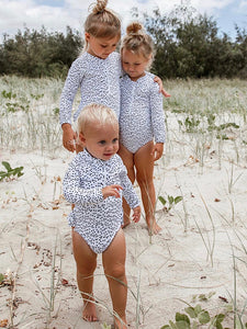 Coco Swimsuit // Long Sleeve Girls Swimsuit in black and white polka dots - Coco & Me - Children's swimwear - Australian swimwear - sun safe - UPF 50+ - Australian kids swimwear