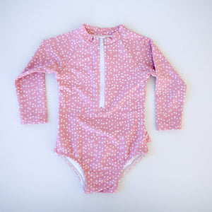 Dusty Rose Pink Polka Dots Long Sleeve Swimsuit - Coco & Me - Children's swimwear - Australian swimwear - sun safe - UPF 50+ - Australian kids swimwear