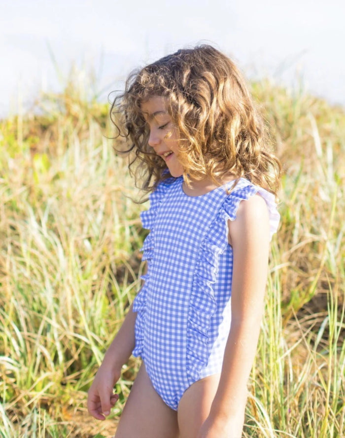 Blue Gingham Ruffled One Piece