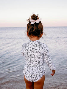 Madison -  Long Sleeve Girls Swimsuit in black and white polka dots - Coco & Me - Children's swimwear - Australian swimwear - sun safe - UPF 50+ - Australian kids swimwear