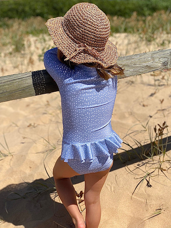 Poppy -  Long Sleeve Girls Swimsuit - Coco & Me - Children's swimwear - Australian swimwear - sun safe - UPF 50+ - Australian kids swimwear