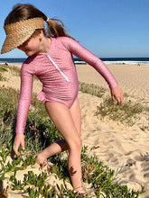 Rose - Long Sleeve Girls Swimsuit- Dusty Pink Polka Dots - Coco & Me - Children's swimwear - Australian swimwear - sun safe - UPF 50+ - Australian kids swimwear