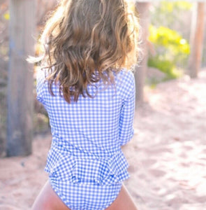 Ellie -  Long Sleeve Zip Swimsuit In Our Eye Catching Blue Gingham - Coco & Me - Children's swimwear - Australian swimwear - sun safe - UPF 50+ - Australian kids swimwear