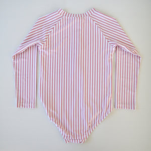 Pink Stripe Long Sleeve Swimsuit - Coco & Me - Children's swimwear - Australian swimwear - sun safe - UPF 50+ - Australian kids swimwear