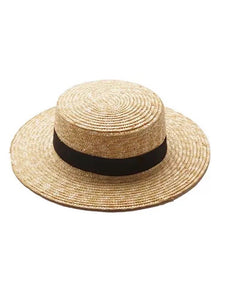 Boater Hat - Black Tie