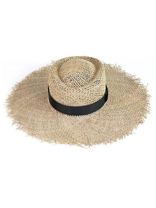 Seagrass Sun Hat with Black Tie
