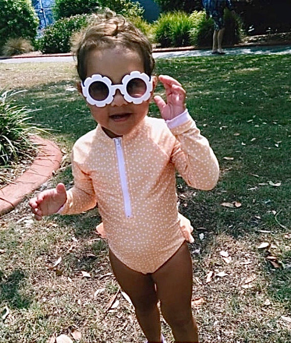 Goldie  - Long Sleeve Swimsuit in yellow and white polka dots - Coco & Me - Children's swimwear - Australian swimwear - sun safe - UPF 50+ - Australian kids swimwear