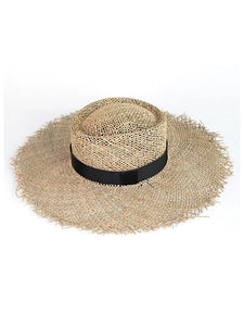 Seagrass Sun Hat with Black Tie - Coco & Me - Children's swimwear - Australian swimwear - sun safe - UPF 50+ - Australian kids swimwear