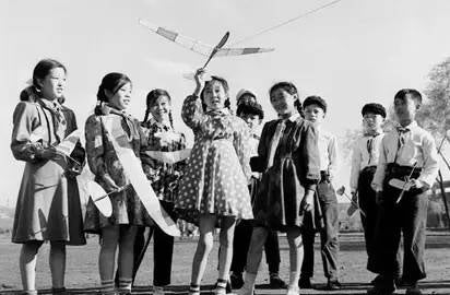 Young Pioneers or Red Scarves with model planes in the 1950s