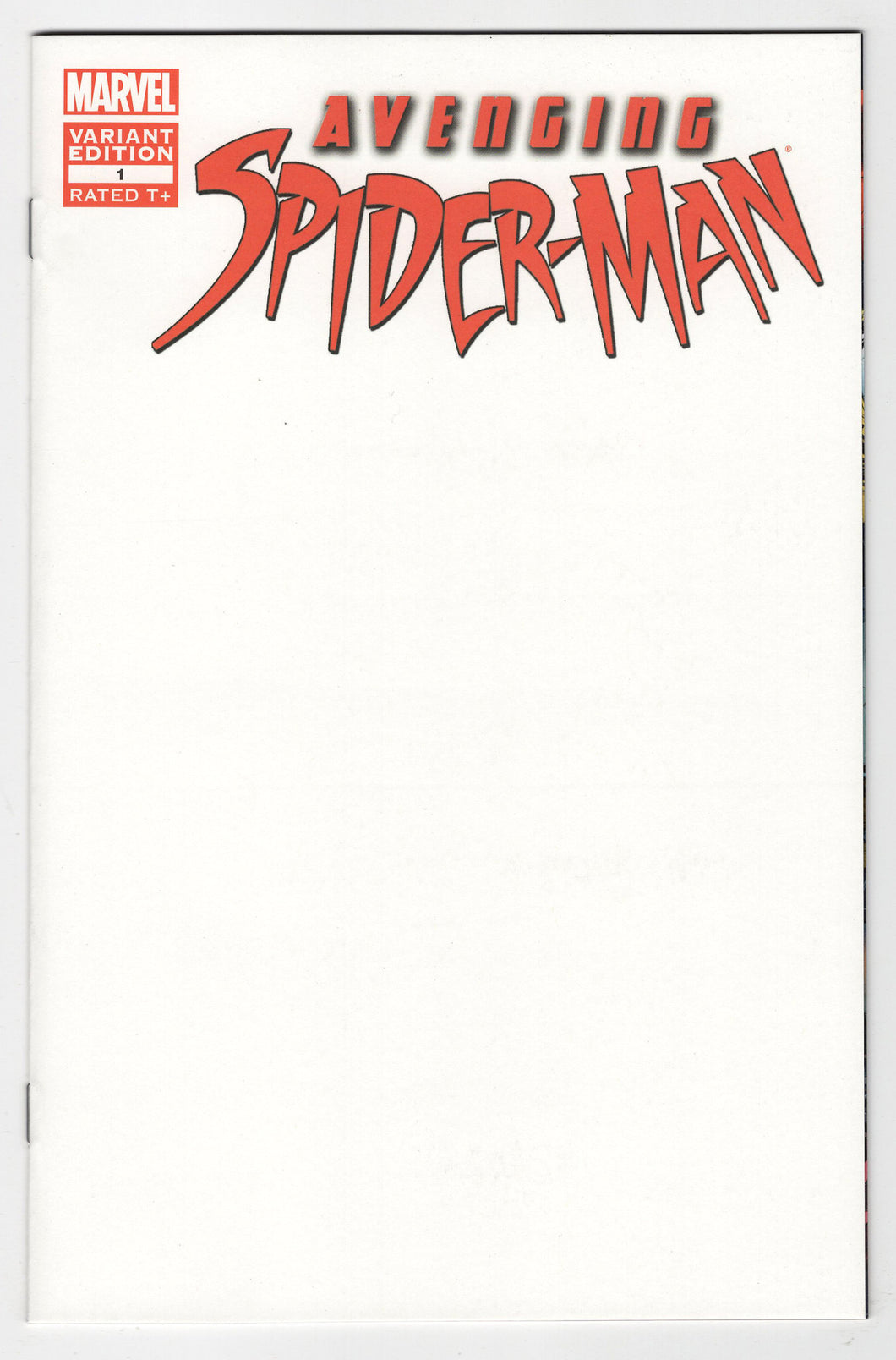 Avenging Spider-Man #1 Blank Sketch Variant Cover Front
