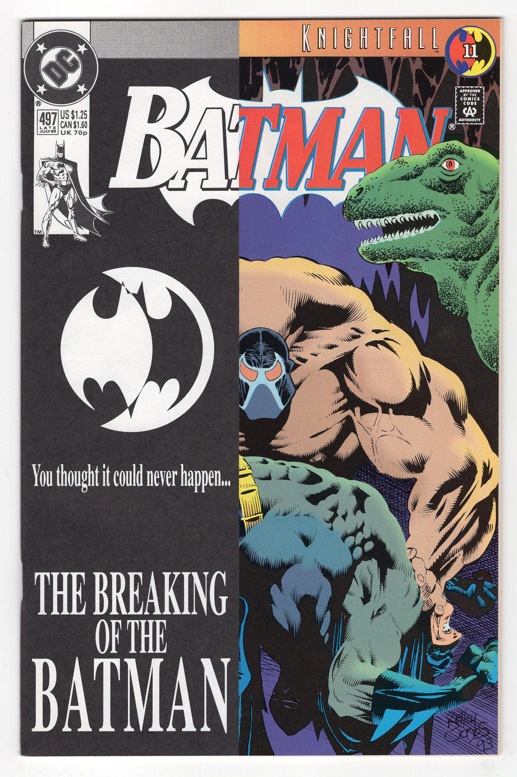 Batman #497 Black and White Outer Kelley Jones Cover (1993) Front