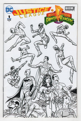 Justice League Power Rangers #1 BW Fried Pie Variant Cover Front